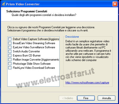 Convertire file video in formato avi con Prism