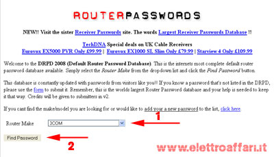 trovare user e password router