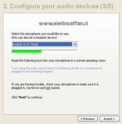 configurazione audio