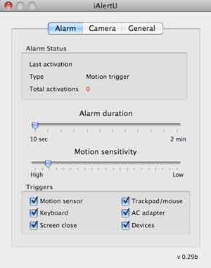 iAlertU Preferenze Alarm