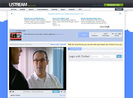 Esempio di una pagina con la visione di Italia 1 online