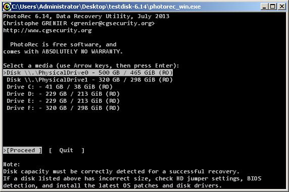 Schermata dell'utilizzo del comando PhotoRec