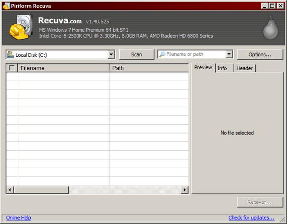 Interfaccia grafica di Recuva