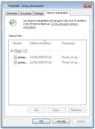 Finestra della funzionalità Versioni Precedenti di Windows
