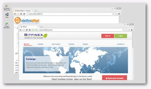 Schermata del sito Bitfinex