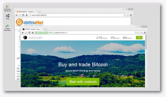 Schermata del sito Justcoin