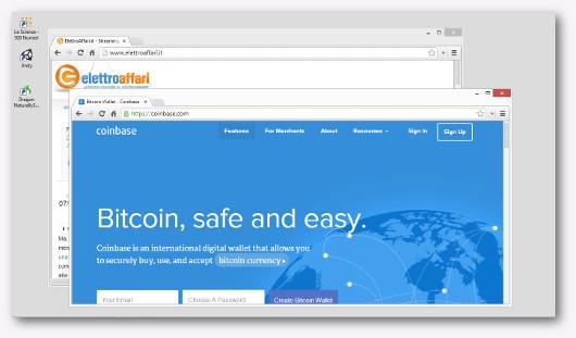 Schermata del sito Coinbase