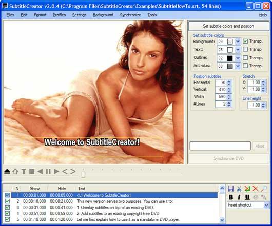 interfaccia utente subtitles creator
