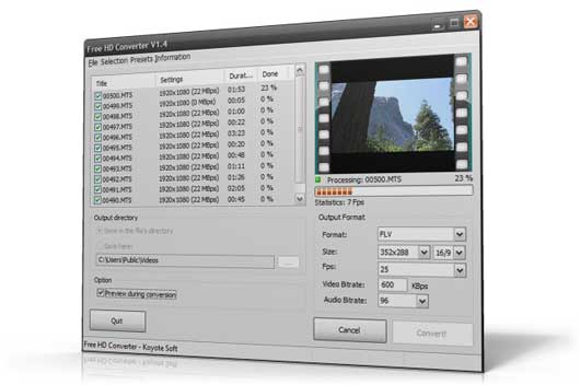 interfaccia free hd converter