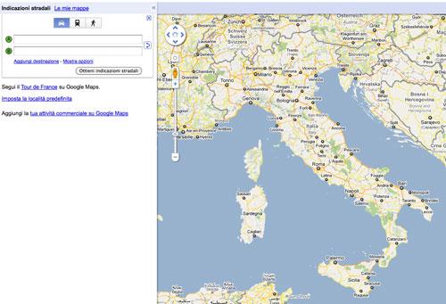 Percorsi stradali su Google Maps