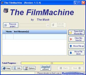 schermata principale programma
