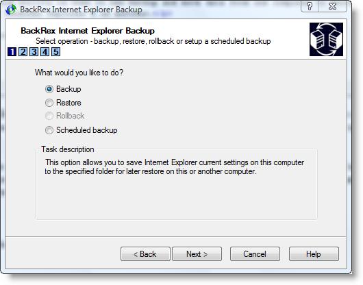 interfaccia del programma di backup