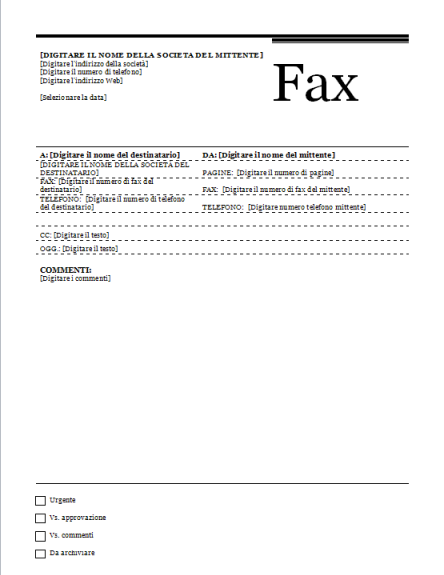 esempio modello fax