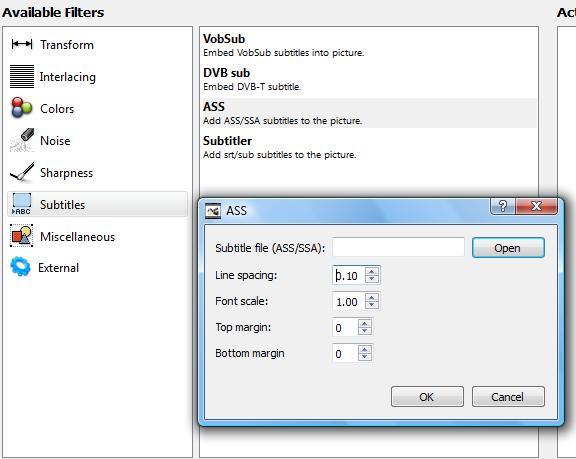 scelta parametri per il filtro