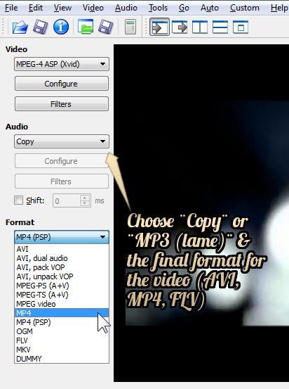 scelta del formato video dopo i sottotitoli