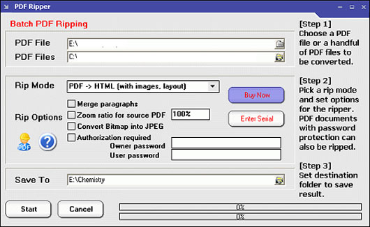 interfaccia di pdf ripper
