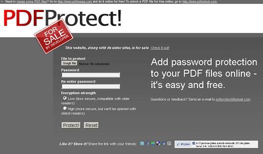 home page di PDF Protect