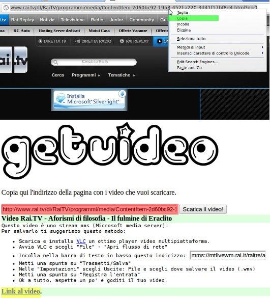 pagina iniziale di GetVideo