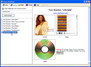 interfaccia di CD Cover Creator