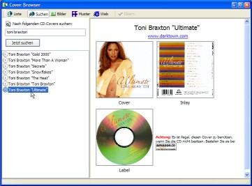 interfaccia di CD Cover Creator