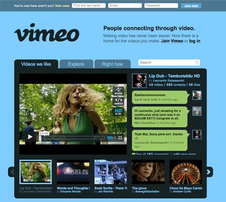 home page Vimeo