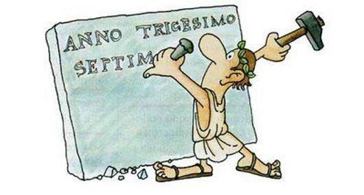 romano mentre scrive in latino