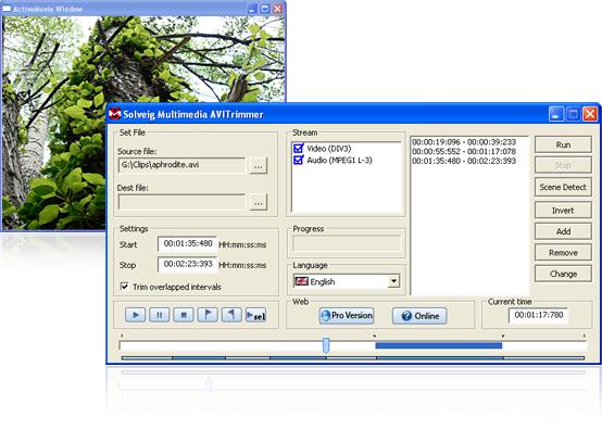 interfaccia del programma per video AVI