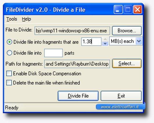 come dividere il file