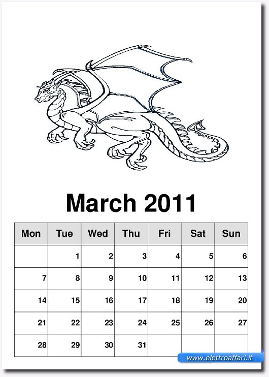 esempio pagina del calendario
