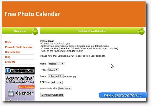 guida a free photo calendar