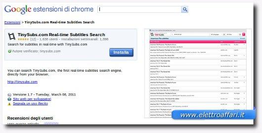 estenzione per google chrome