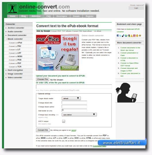 sito per la conversione