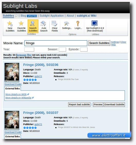sublight per i sottotitoli dei film