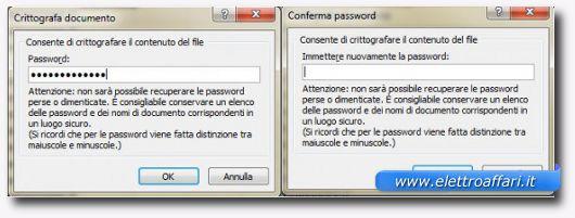 scelta della password del documento