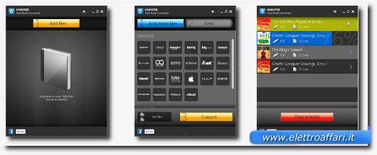 Interfaccia programma per convertire eBook