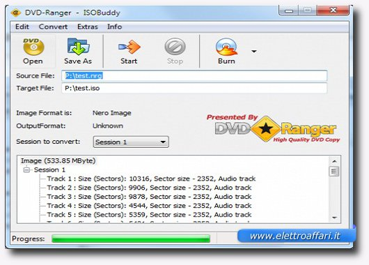 Interfaccia programma per convertire file in ISO