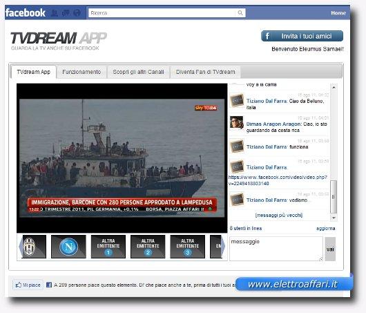 Applicazione per vedere la TV in Streaming su Facebook