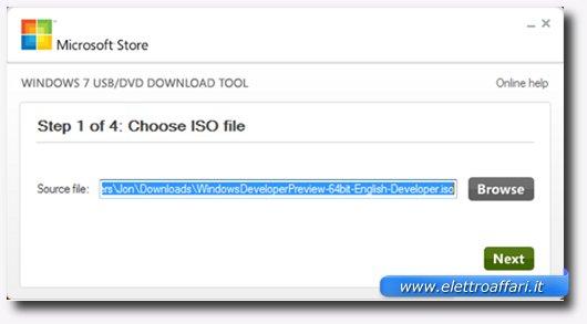 Primo passaggio per creare una bootable USB Drive