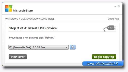 Terzo passaggio per creare una bootable USB Drive