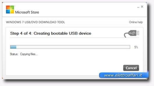 Quarto passaggio per creare una bootable USB Drive