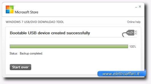 Messaggio finale della procedura di creazione della bootable USB Drive