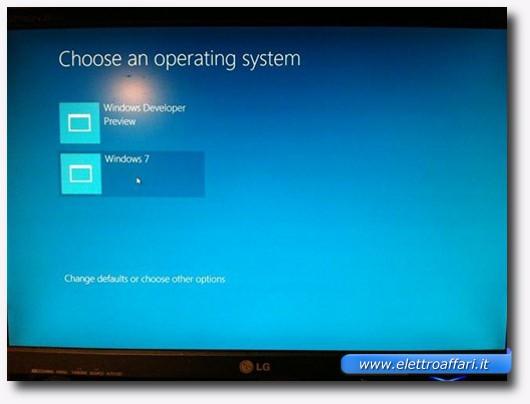 Scelta del sistema operativo dopo l'installazione