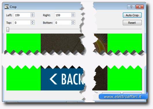 Immagine della schermata Crop per modificare i bordi dei video