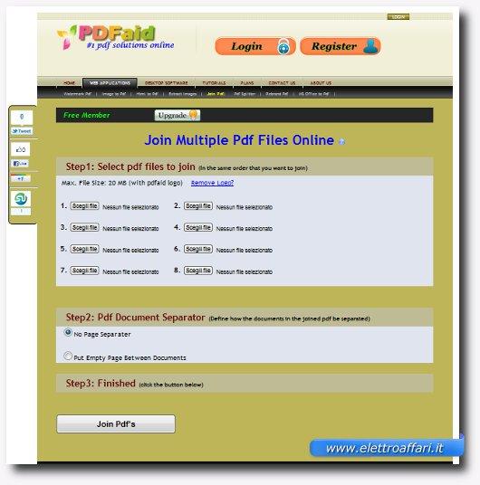 Interfaccia dell'applicazione online per unire file PDF