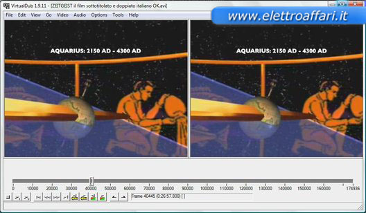 Interfaccia del programma di editing video VirtualDub