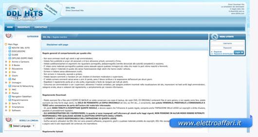 Interfaccia grafica del sito DDLHits