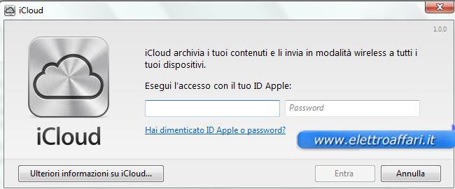 Schermata iniziale di iCloud