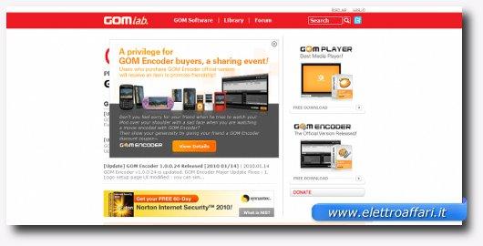 Interfaccia grafica di Gom Player