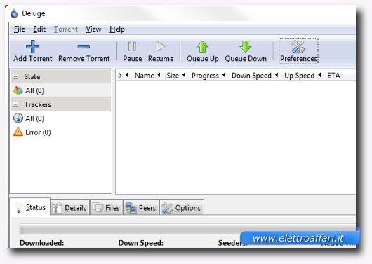 Interfaccia del secondo programma per scaricare file torrent