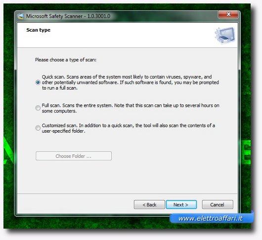 Interfaccia grafica dell'installazione di Microsoft Safety Scanner